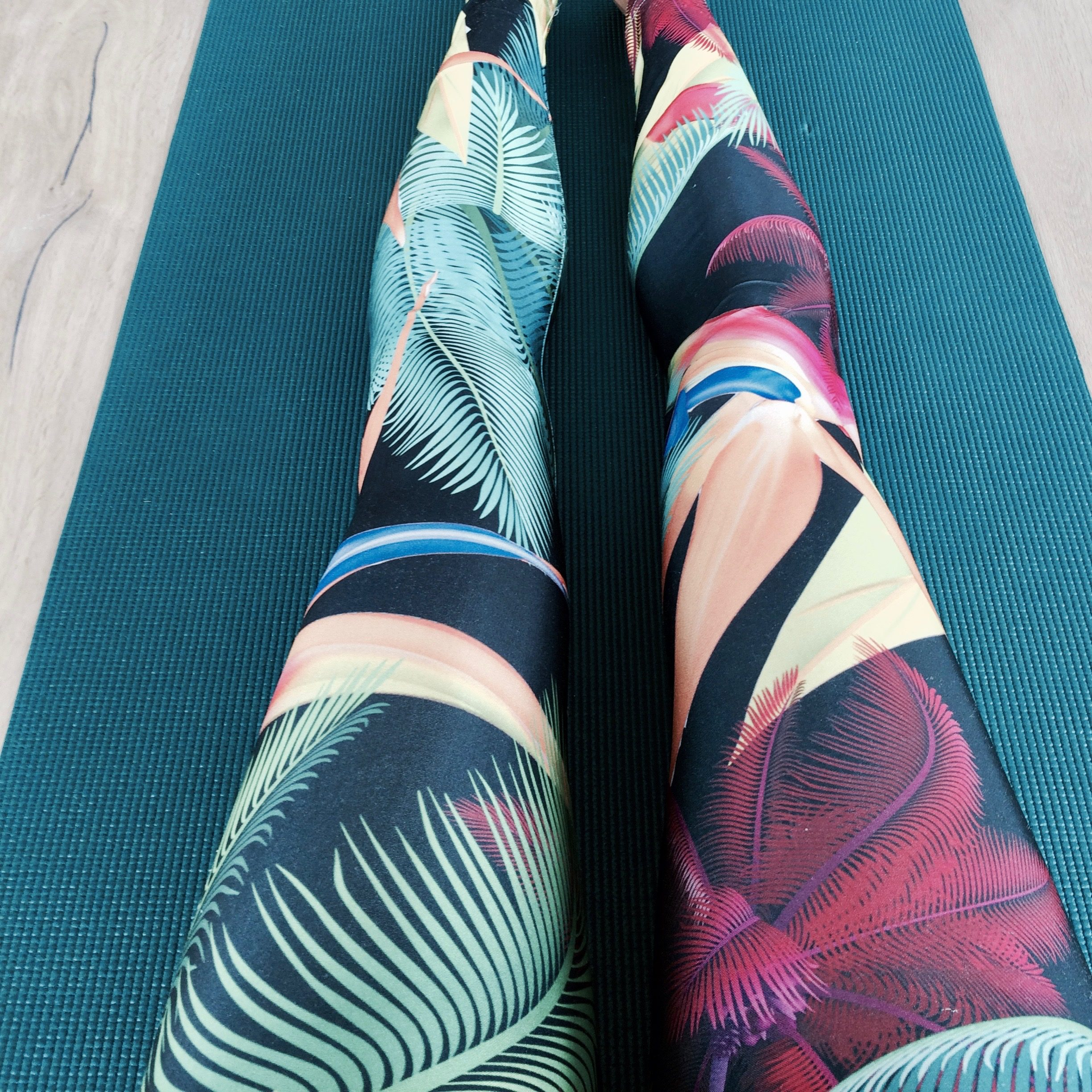 yoga legs on a yoga mat